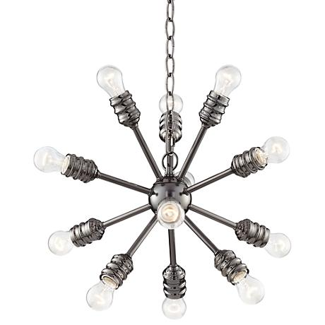 "Blencoe Black Nickel 24 1/2""W 12-Lt Clear Bulb Chandelier"