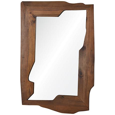 "Gunderson Natural Wood 29"" x 42"" Abstract Wall Mirror"