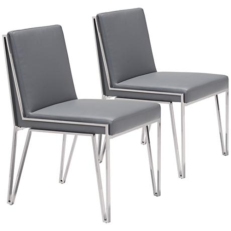 Zuo Kylo Gray Leatherette Zig-Zag Dining Chair Set of 2