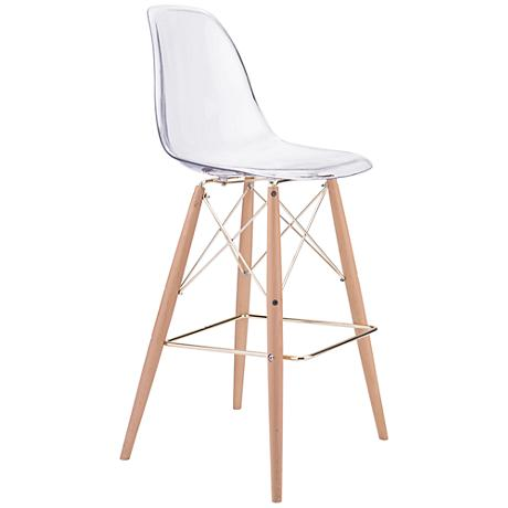 "Zuo Shadow 29 1/2"" Transparent Seat Beech Wood Bar Chair"