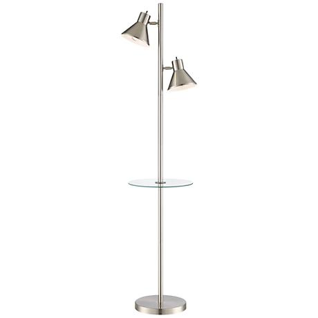 Luken Brushed Nickel 2-Light Tree Floor Lamp with Table