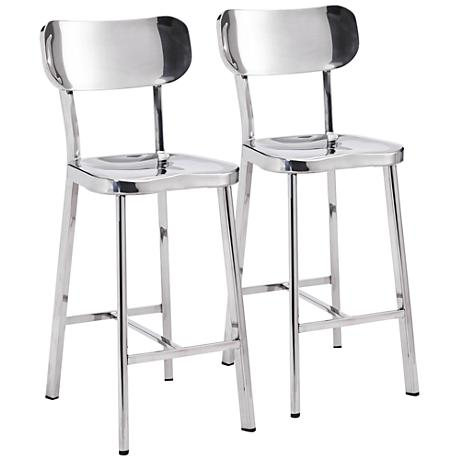 "Zuo Winter 24 1/2"" Stainless Steel Counter Chair Set of 2"