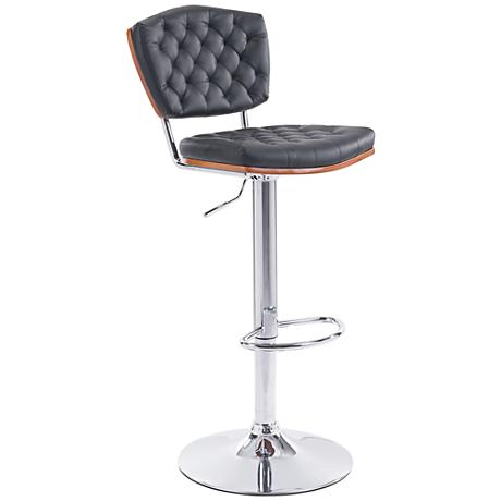 Zuo Tiger Black Leatherette Adjustable Chrome Bar Chair