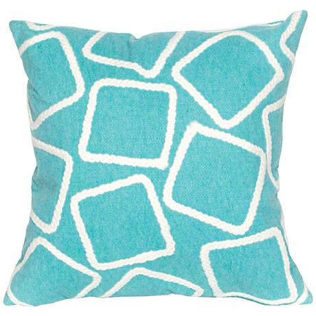 "Visions I Squares Aqua 20"" Square Outdoor Throw Pillow"