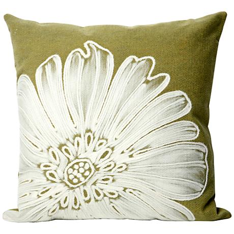 "Visions II Antique Medallion Green 20"" Square Outdoor Pillow"