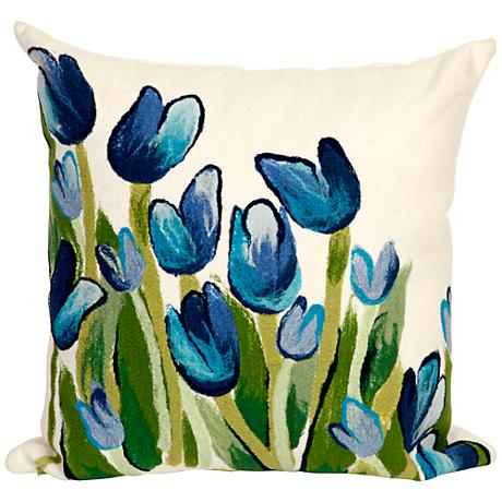 "Visions II Allover Tulips Blue 20"" Square Outdoor Pillow"