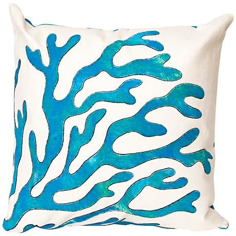 "Visions II Coral Blue 20"" Square Outdoor Throw Pillow"