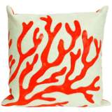 "Visions II Coral Red 20"" Square Outdoor Throw Pillow"