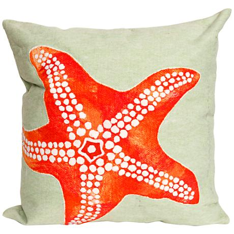 "Visions II Starfish Seafoam 20"" Square Outdoor Throw Pillow"