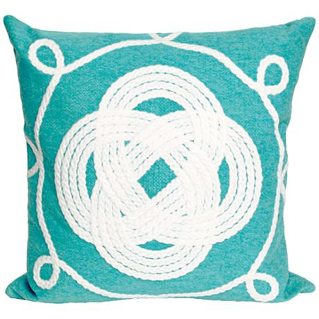 "Visions II Ornamental Knot Aqua 20"" Square Outdoor Pillow"