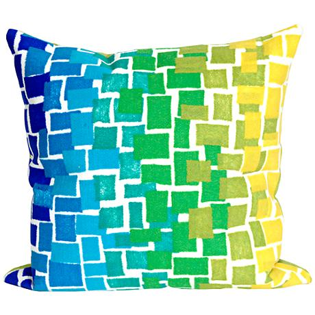 "Visions II Ombre Tile Cool 20"" Square Outdoor Throw Pillow"