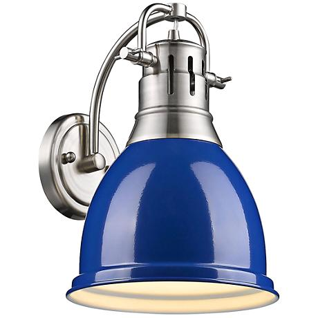 "Duncan 13"" High Gloss Blue Shade Pewter Wall Sconce"