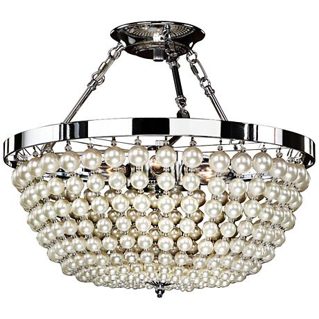 "Moscato 16 1/2""W Chrome 5-Light Faux Pearl Ceiling Light"