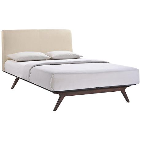 Tracy Beige Fabric Cappuccino Platform Bed