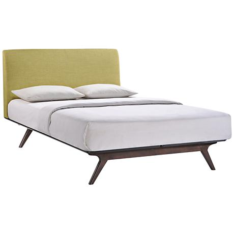 Tracy Green Fabric Cappuccino Platform Bed
