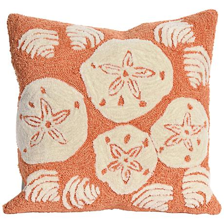 "Frontporch Shell Toss Coral 18"" Square Outdoor Throw Pillow"