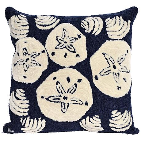 "Frontporch Shell Toss Navy 18"" Square Outdoor Throw Pillow"
