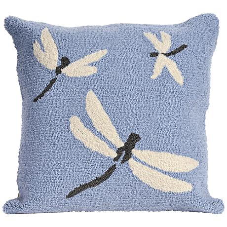 "Frontporch Dragonfly Blue 18"" Square Outdoor Throw Pillow"
