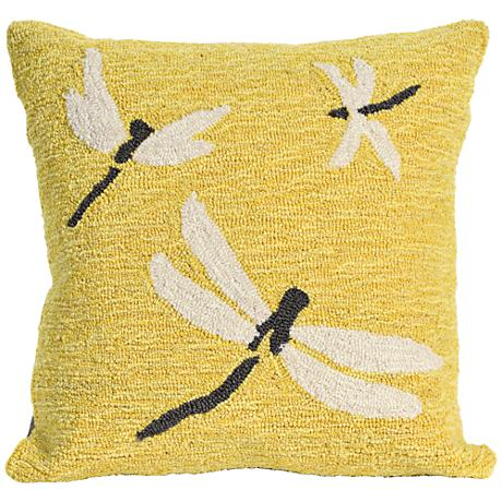 "Frontporch Dragonfly Yellow 18"" Square Outdoor Throw Pillow"