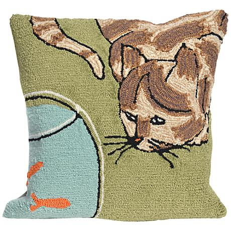 "Frontporch Curious Cat Green 18"" Square Outdoor Throw Pillow"