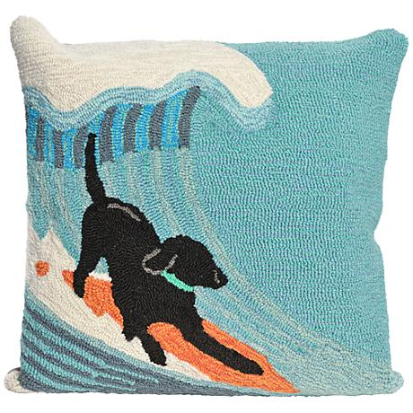 "Frontporch Surfing Dog Ocean 18"" Square Outdoor Throw Pillow"