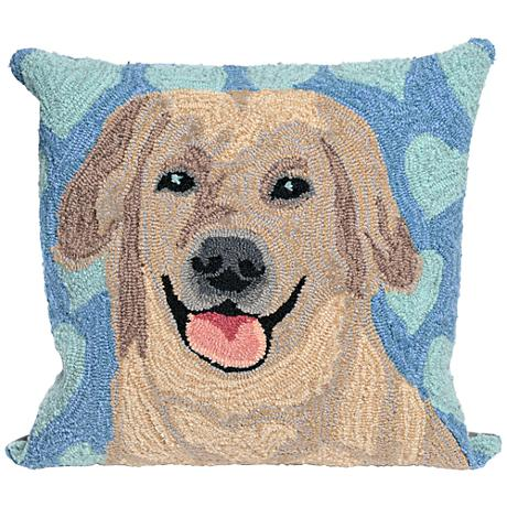 "Frontporch Puppy Love Blue 18"" Square Outdoor Throw Pillow"