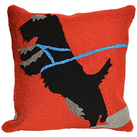 "Frontporch Who's Walking Who Red 18"" Square Outdoor Pillow"