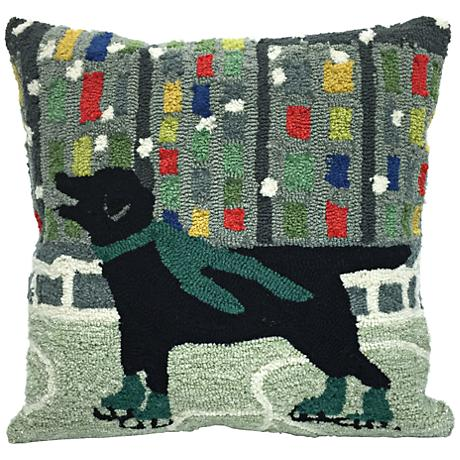 "Frontporch Holiday Ice Dog Green 18"" Square Outdoor Pillow"
