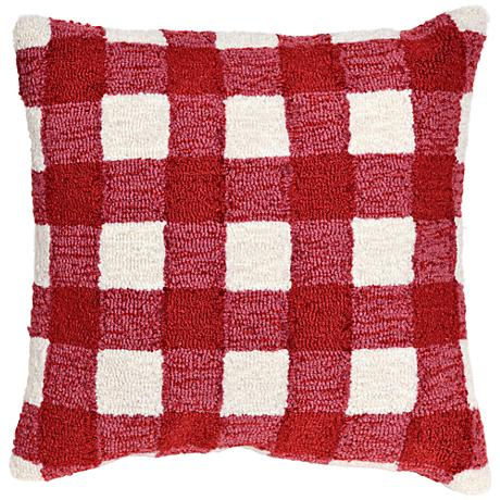 "Frontporch Gingham Red 18"" Square Outdoor Throw Pillow"