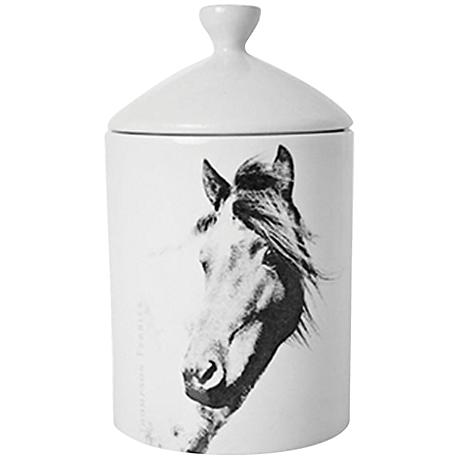 Horse Natural Birch Bark-Scent White Lidded Jar Candle