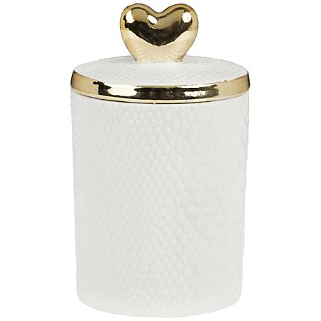 Heart-Top Metallic Champagne-Fennel Lidded Jar Candle