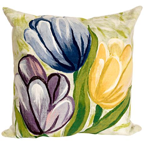 "Visions III Tulips Cool 20"" Square Outdoor Throw Pillow"