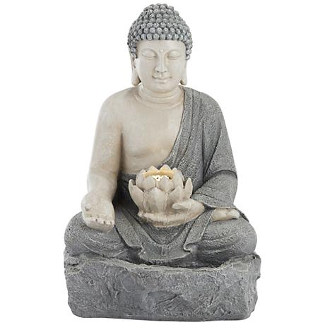 "Freeport 22 1/2""H Stone Sitting Buddha LED Outdoor Fountain"