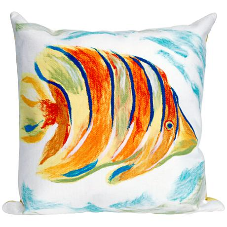 "Visions III Angel Fish Pearl 20"" Square Outdoor Throw Pillow"
