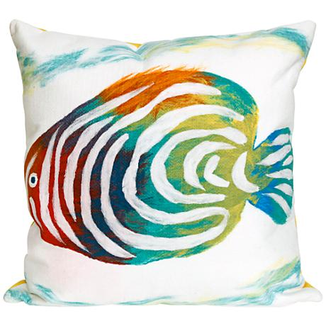"Visions III Rainbow Fish Pearl 20"" Square Outdoor Pillow"