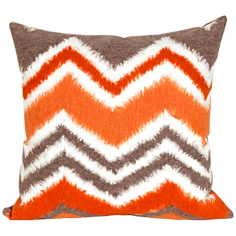 "Visions III Zigzag Ikat Orange 20"" Square Outdoor Pillow"