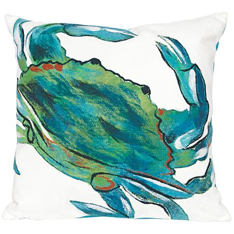 "Visions III Blue Crab Sea 20"" Square Outdoor Throw Pillow"