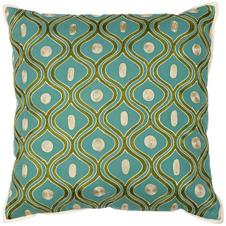 "Gramercy Teal and Gold 18"" Square Decorative Pillow"