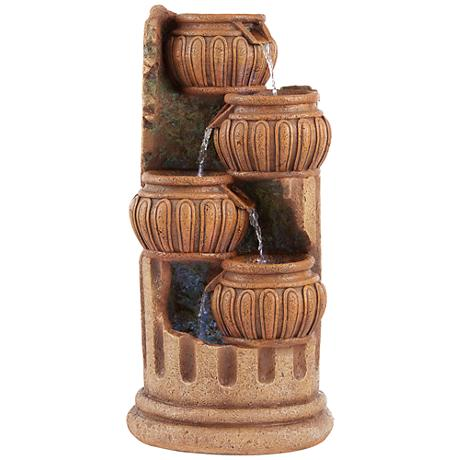 "Smithtown 28""H Stone Four Roman Columns LED Outdoor Fountain"