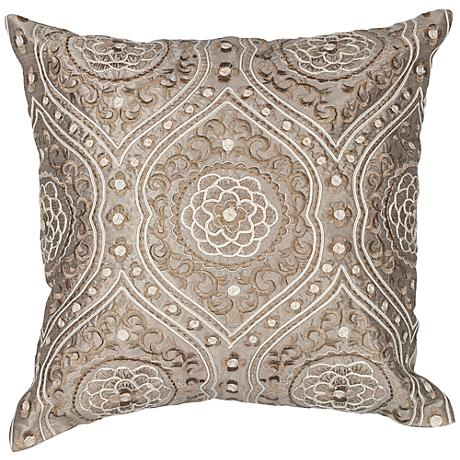"Meddina Silver 18"" Square Decorative Damask Pillow"