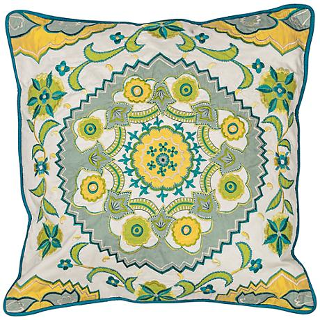 "Suzani Blue Green Medallion 18"" Square Pillow"