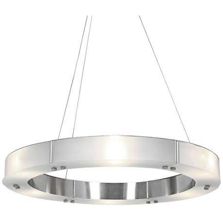 "Oracle 22"" Wide Brushed Steel 6-Light LED Chandelier"