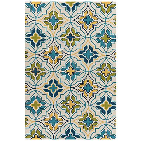 Chandra Terra Cream, Blue and Green Area Rug