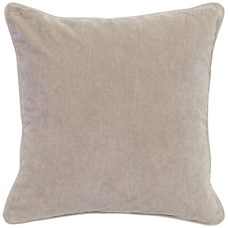 "Grandeur Natural 18"" Square Cotton Velvet Accent Pillow"