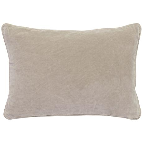 "Natural Warm Gray 20"" x 14"" Cotton Velvet Throw Pillow"