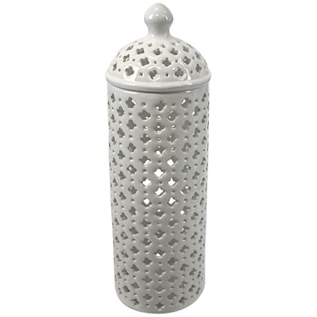 "Lucy 16"" High Pierced Ceramic Covered Jar"