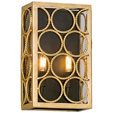 "Bottega 14"" High Gold Leaf and Textured Bronze Wall Sconce"