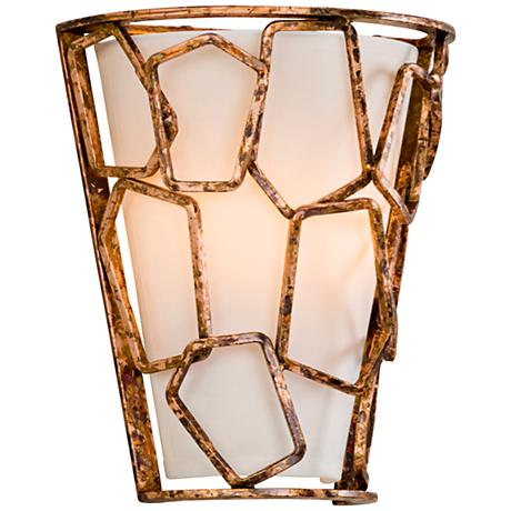 "Coda 11"" High Antique Copper Leaf Wall Sconce"