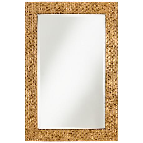 "Mirella Bronze Indent Bamboo Pattern 24"" x 36"" Wall Mirror"