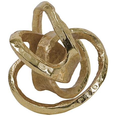 "Regina-Andrew Knot 7"" High Gold Metal Tabletop Sculpture"